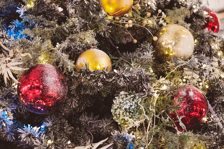 Holiday Celebration No People Christmas Christmas Ornament Close-up Still Life High Angle View Christmas Decoration Decoration Holiday - Event Food And Drink Indoors  Nature Bauble christmas tree Christmas Lights