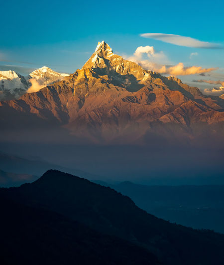 Machapuchare or Fish Tail, the sacred forbidden mountain Fish Tail HimalayaScape Nature Sky And Clouds Beauty In Nature Idyllic Landscapes Majestic Mountain No People Outdoors Physical Geography Tranquility Travel Destinations