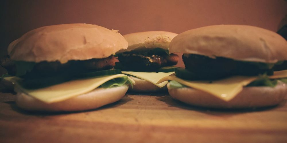 Unhealthy Sunday breakfast 🍔 Food Still Life Food And Drink Freshness Indoors  Ready-to-eat Close-up No People Table Snack Burger Hamburger Bun Fast Food Buns Foodphotography In A Row Burger Bun Unhealthy Eating Chicken Burger Breakfast Cooking At Home Visual Feast Food Stories
