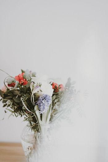 Pale floral arrangement with copy space Flower Flowering Plant Plant Beauty In Nature Nature Copy Space Vulnerability  Fragility Close-up Indoors  Flower Arrangement No People Flower Head Bouquet Copy Space