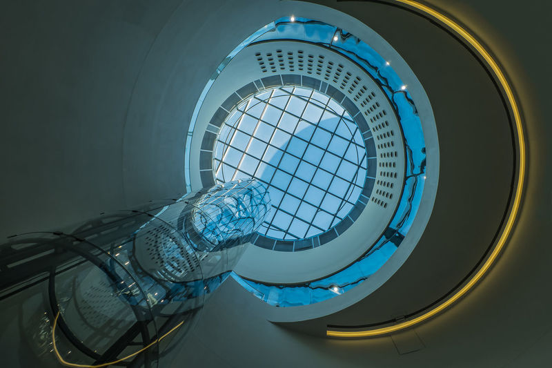 Architectural Feature Architecture Birmingham Library Blue Building Built Structure Day Directly Below Elevator Glass Low Angle View Modern No People Sky Skylight Tall - High