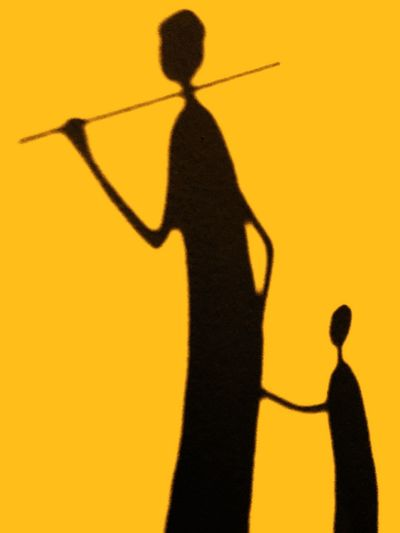 ArtWork Africa Subsaharan Africa Silhouette Shadow Focus On Shadow Leisure Activity Black Color Yellow One Person People