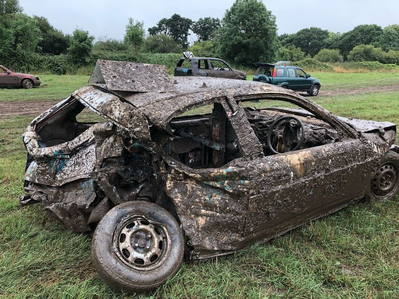 Fun in the mud Crash Crashed Car Smash  Banger Racing Field Plant Day Land Mode Of Transportation Nature Transportation Land Vehicle Machinery