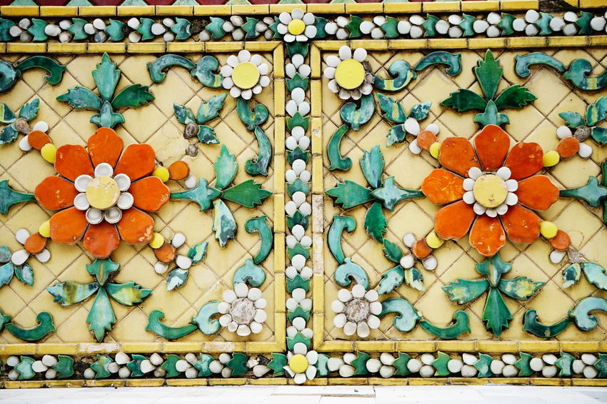 A6300 Thai Pattern Thai Flowers Ancient Remains Wat Pho Yoga Ancient Architecture Thai Ancient Floral Pattern Mosaic Tile ArtWork