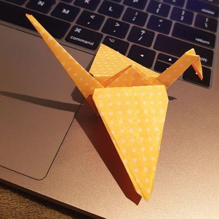 Tsuru Enjoying Life Enjoymarketingdigital Deboracastilhocosta Tsuru Origami Bird Paper Gold Colored Laptop Technology Gold Yellow No People Computer Keyboard