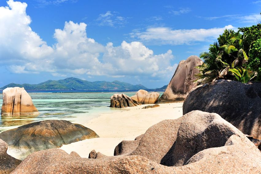 Beach Source d'Argent on La Digue, Seychelles Beach Blue Costal Day Destination Dreamy Geology Island Landscape Lonesome Luxury Majestic Nature Ocean Outdoors Palm Sea Shore Sky Tranquility Traveling Tree Tropical Vacations Water