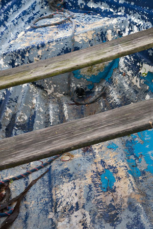 Old fishing boat Abandoned Abstract Blue Close-up Deterioration Fishing Boat No People Old Old Fishing Boat Outdoors Peeling Paintwork Rope Rotting Wood Rustic Rusty Wood - Material