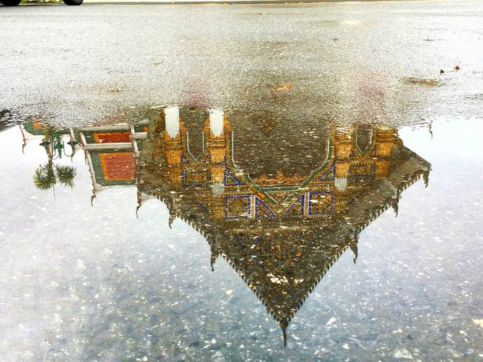 reflection in rainyday Water Waterfront Outdoors Puddle Built Structure Day Architecture Cold Temperature No People Nature