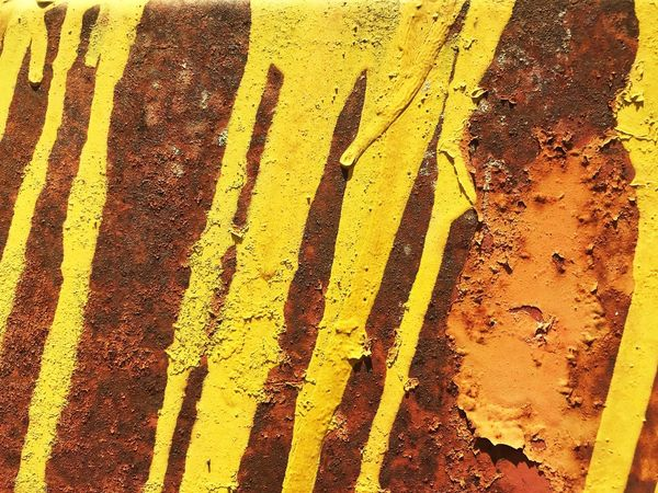 Rusty Steel Textured Yellow Backgrounds Full Frame Pattern No People Day Textured