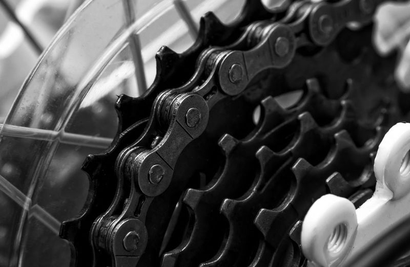 Close-up of bicycle gear
