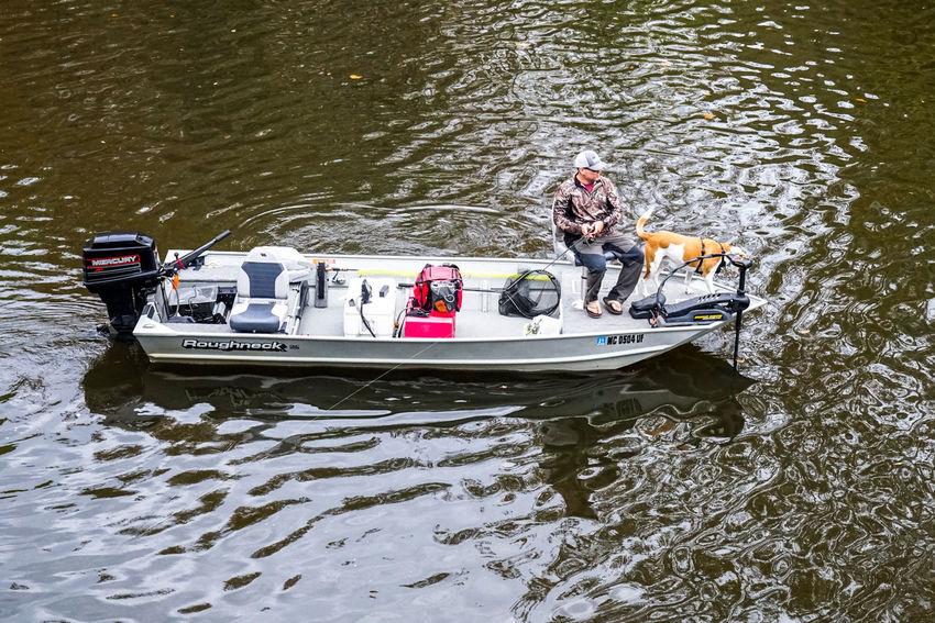 one man fishing Fishing Man Dog River Water Nautical Vessel Oar Sport Sports Race Men River Aquatic Sport