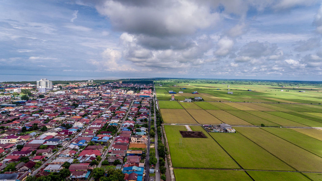 Drone Landscape view on top of the town between Sekinchan Paddy Field and the Seaside. Aerial View Composition Contrast Day Godsvision Outdoors Paddy Field Sekinchan, Malaysia Sunny Day