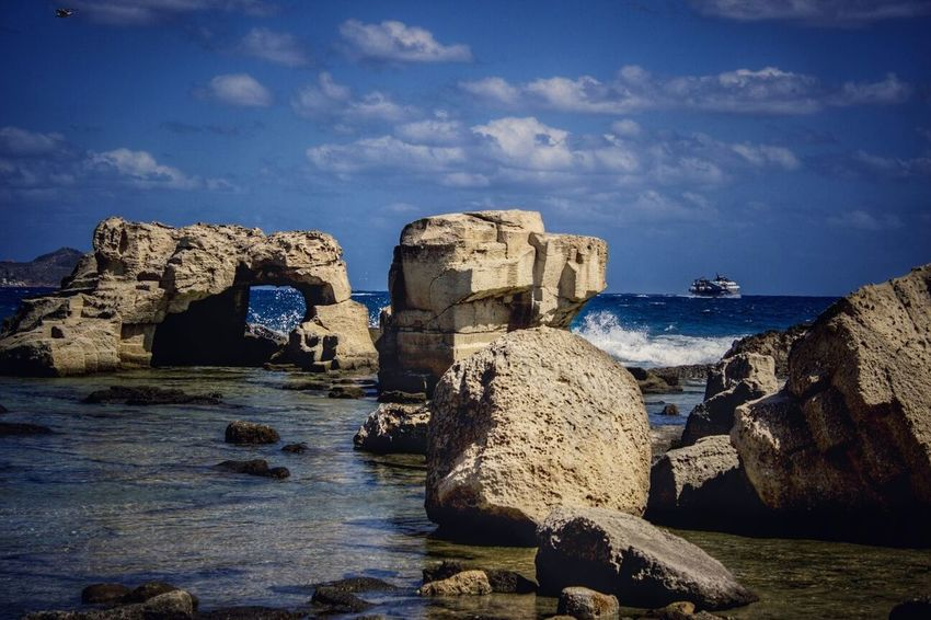 Rock - Object Water Travel Destinations Sea Outdoors No People Sky Nature Beauty In Nature Beach Windy Day Windy City Favignana's Sea Spirits Of This Land Powerfull Ocean Canon100D