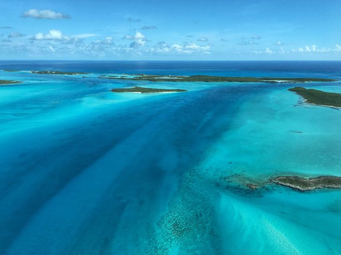Blue highway Beauty In Nature Water Nature Sea Sky Scenics Tranquil Scene Tranquility Horizon Over Water Landscape Bahamas Exuma Aerial View Aerial Shot