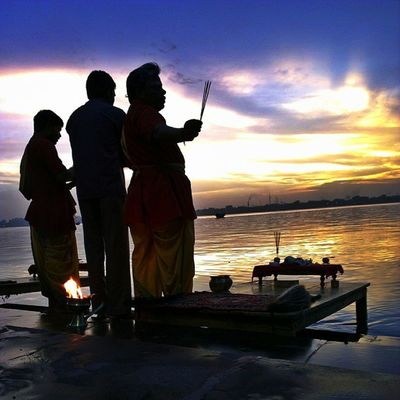 Ganga Arti in technicolour. Incrediblecalcutta Ganges hooghly religion Calcutta kolkata river sky clouds hindu hinduism tradition