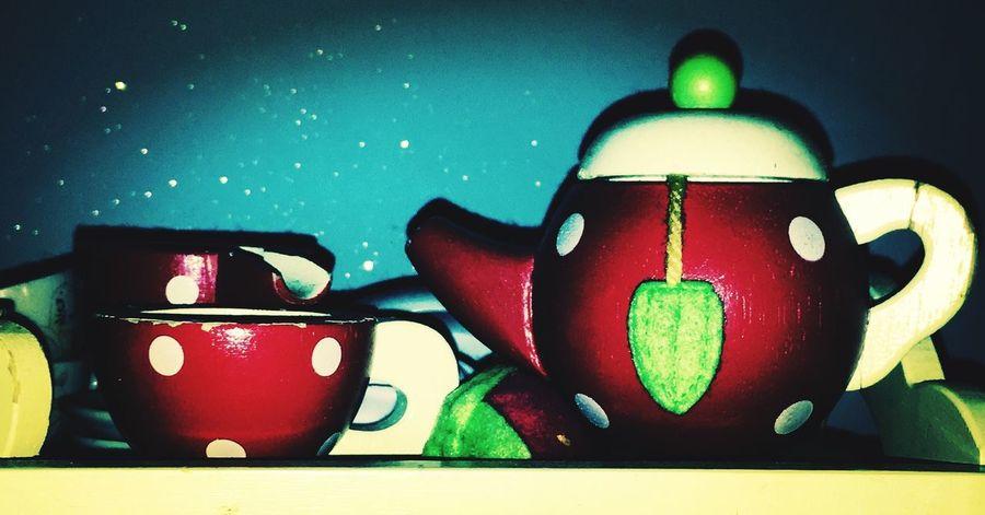 Messedupjournal Wooden Teaset Teapot Glitter Red