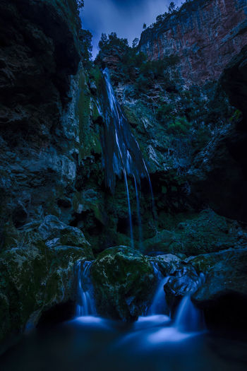 The Cascades d'Akchour in Morocco near Chefchaouen. Photo was taken at nightfall during the blue hour. Africa Akchour Cascade Cascades Cascades D'akchour Chefchaouen D'akchour Dakchour Forest Landmark Morocco National National Park Nature Physical Geography River Rock - Object Rock Formation Stream Talassemtane Tranquil Scene Tranquility Water Waterfall Wilderness