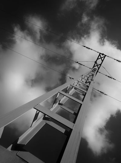 Pylon Pylons Cloud - Sky Outdoors Low Angle View Tall No People Pylonporn Pylonography Blackandwhite Blackandwhitephotography Black And White Photography Black And White Abstract Monochrome Monochromatic