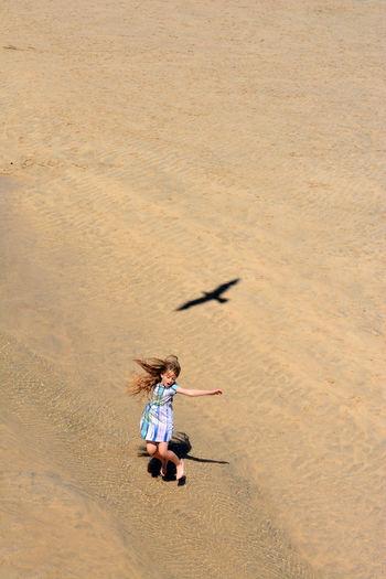 High angle view of woman on beach