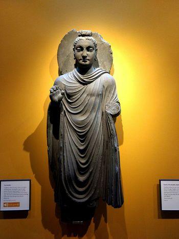 EyeEm Selects Statue Indoors  Sculpture No People Buddha Statue The Buddha Buddhism Ashmolean Ashmoleanmuseum Yellow Wall Museum Exhibit  History Of Arts Art History Gandhara Gandhara Art Greco-buddhism