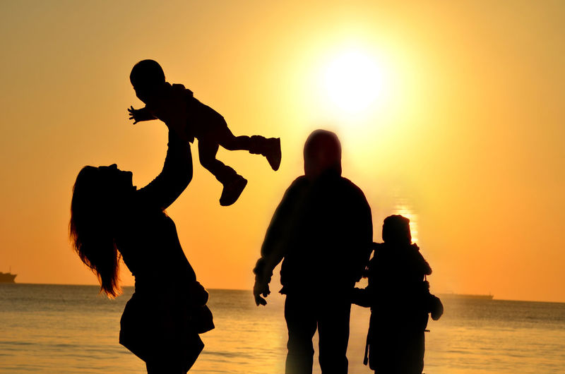 Beach Childhood Family Outing Family Time Family❤ Father & Daughter Father & Son Mother & Daughter Mother And Son Playing Playing With Kids Silhouette Sunset
