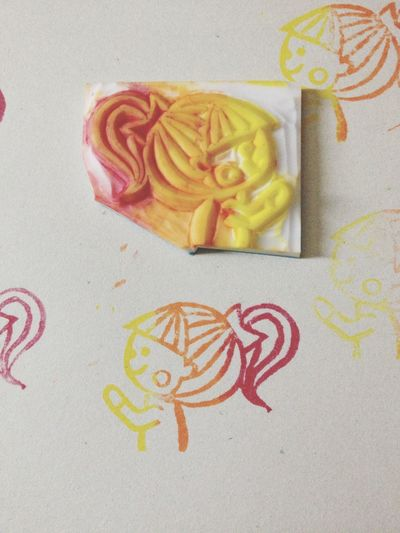 Orange yellow kid is done ;) Rubberstamp Carving Arts And Crafts Stamping