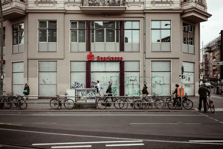Bicycles on street in city