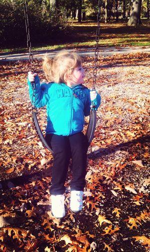 Autumn Leaves Mommys Princess Having Fun Swinging