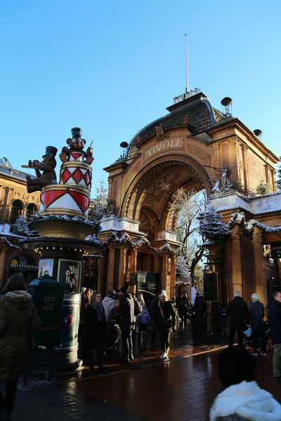 Tivoli Tivoli Denmark Tivoli Garden Winter Wintertime Adult Architecture Building Exterior Built Structure City Clear Sky Day Entre Large Group Of People Men Outdoors People Real People Sky Snow Walking Winter Wonderland Women