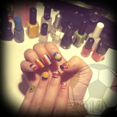New nails :3 Loove Football ♡♥ - Go Germany FIFAWorldCup2014 FIFA World Cup Brasil Nail Art Gogermany