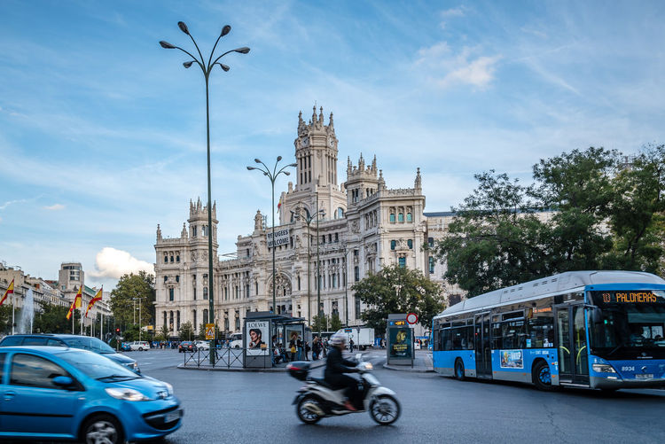 Square and Palace of Cybele in Madrid Cibeles Palace City City Hall Cityscape Cybele European  Madrid SPAIN Square Traffic Travel Architecture Building Exterior Built Structure Capital Cities  Cibeles Day Europe Landmark Outdoors Road Sky Transportation Travel Destinations Urban