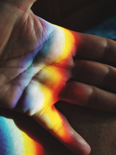 High angle view of multi colored light falling on hand