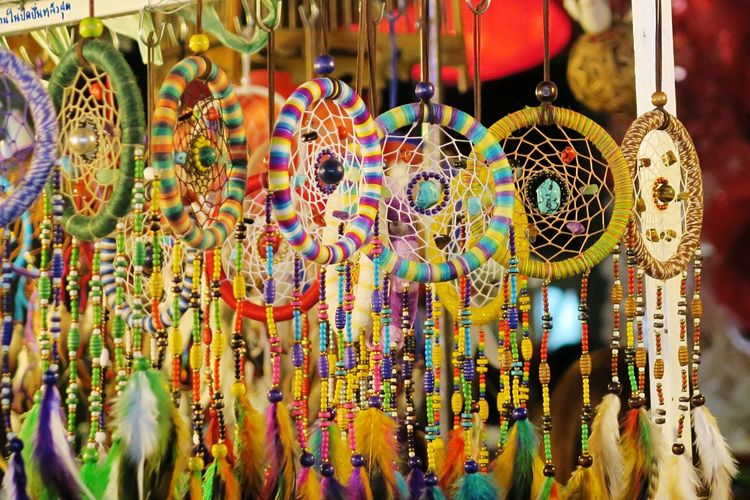 Which dream would you like to catch? Multi Colored Variation Choice Hanging For Sale Retail  Market Backgrounds No People Close-up Outdoors Day Art EyeEmBestPics Dreaming Travel Thailand Sony Dreamcatcher EyeEmNewHere ASIA Trip #southeastasia Backpacking