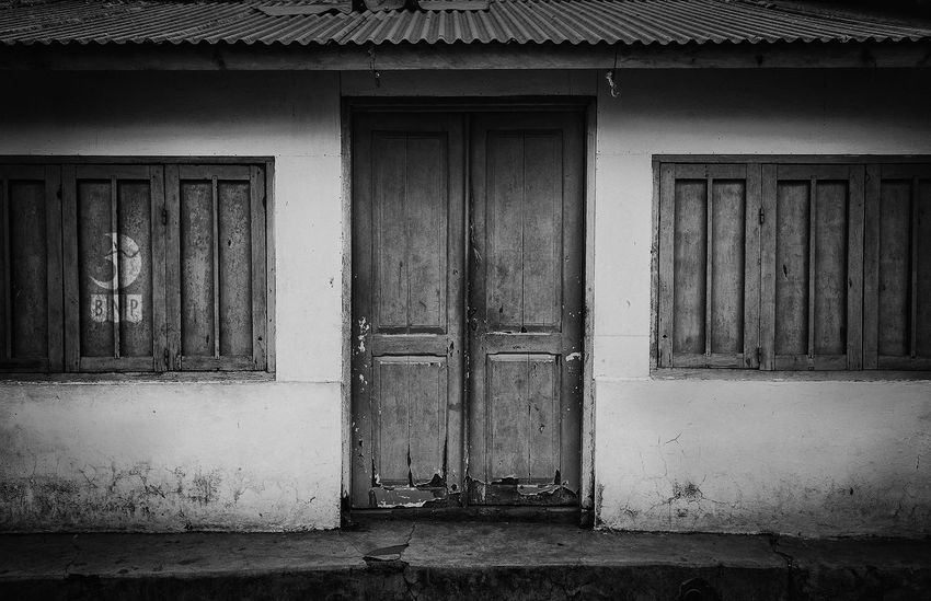 Closed Door Architecture Black And White Street Photography