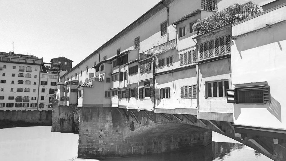 Architecture Arno  Arno River Black & White Black And White Bridge Bridge - Man Made Structure Building Built Structure City Day Firenze Florence Florence Italy Italy No People Old Bridge Outdoors Ponte Ponte Vecchio Ponte Vecchio - Firenze Rover  Sky Toscana Toskana