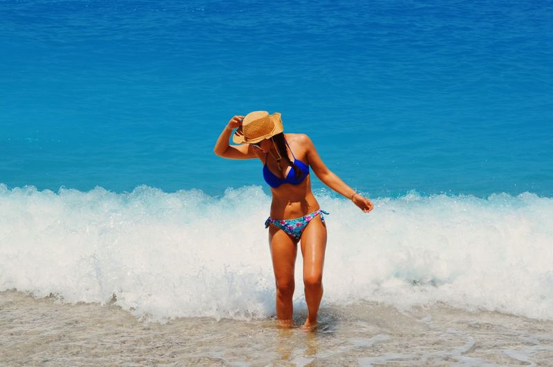 :) Beauty In Nature Bikini Casual Clothing Day Enjoyment Freedom Full Length Fun Leisure Activity Lifestyles Motion Nature Scenics Sea Sky Vacations Water Wave Showcase July Summer Exploratorium