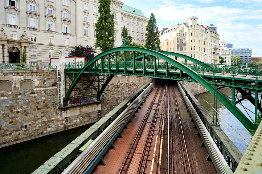 Zollamtssteg Bridge across the river. Vienna city. Austria Across The River Austria Bridge Bridge - Man Made Structure City City Canal Cloud - Sky Day Engineering Europe Infrastructure No People Outdoors Rail Bridge Railroad Railway River Subway Summer Sunny Day Train Tracks Tunnel Underground Vienna Zollamtssteg