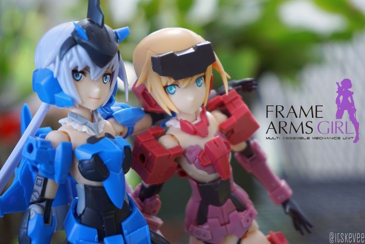 Anime Blue Close-up Cyborg Focus On Foreground Frame Arms Girl Jinrai Kotobukiya Large Group Of Objects Mask - Disguise Mecha Multi Colored Red Stylet