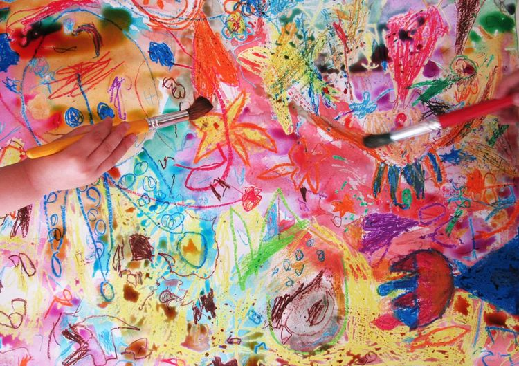 Multi Colored Abstract Paint Colors Childhood Paintbrush Children's Art Painting Child Colored Creativity