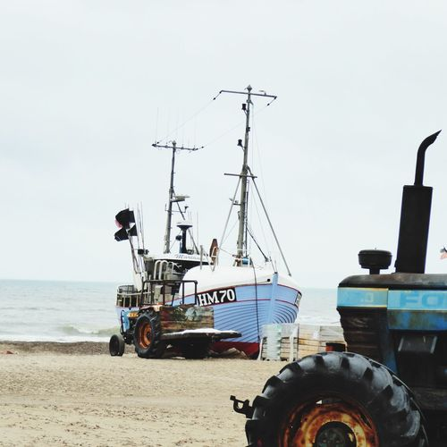 Denmark 🇩🇰🇩🇰🇩🇰 Tractor Torup Strand Transportation Mode Of Transport Sea Beach Nautical Vessel Moored Water Outdoors Day No People Sand Sky Nature Beach Photography Cloud - Sky Horizon Over Water Fine Art Photography Old Fishing Boat Iron - Metal Fine Art Fishing Boat