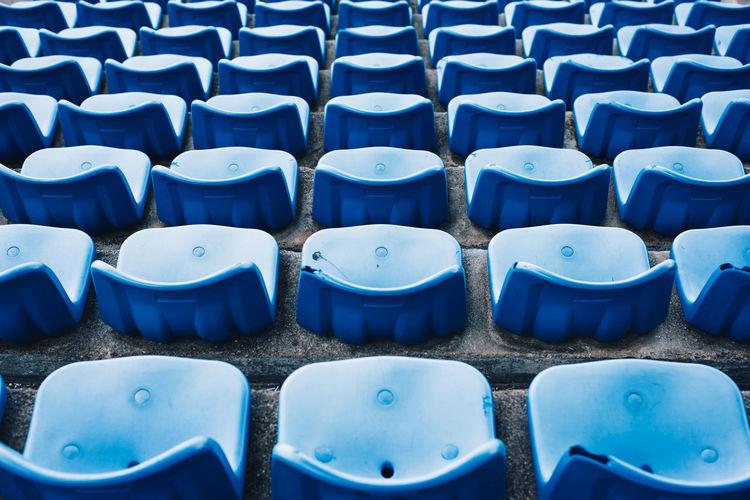 Full frame shot of empty bleachers at stadium