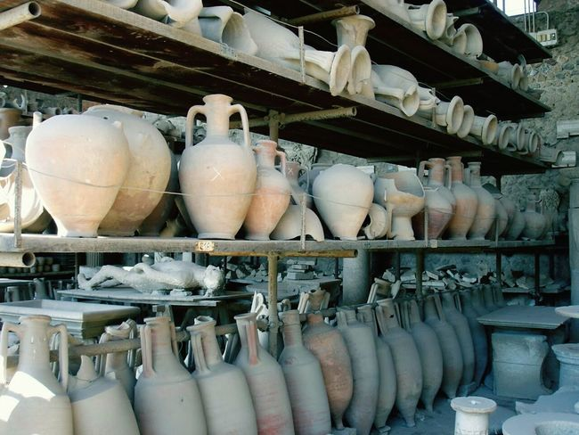 Amphorae neatly in rows | PlasterCast | Vesuvius  | Ancient | Artifact | Archaeology | Pompeii  Italy | Travel | This Week On Eyeem