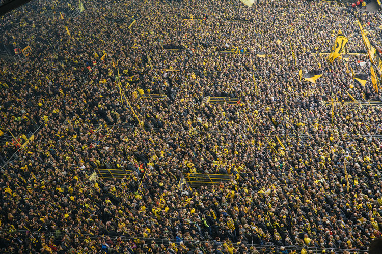 High Angle View Of Crowd In Stadium