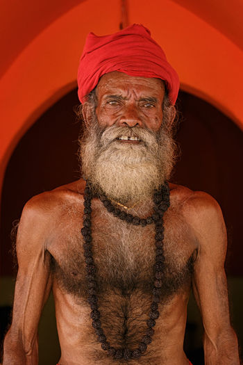 Portrait Of Shirtless Mature Bearded Man