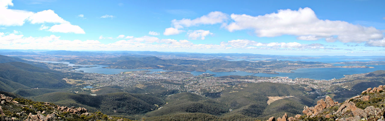 Hobart Tasmania, Australia Mount Wellington Aerial View Blue Scenics Landscape Travel Destinations Sky Outdoors Mountain Beauty In Nature Cityscape Nature Tasmanian Landscape Australian Landscape Coastline Water Beach Horizon Over Water Beauty In Nature Nature Cloud - Sky Travel Sea