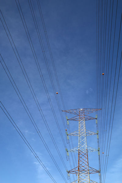 Grid electricity transmission tower Grid Power Power Lines Transmission Blue Cable Connection Electrcity Electricity  Electricity Pylon Energy Power Line  Power Supply Sky Supply Technology