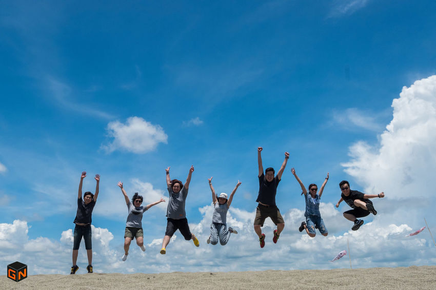 Arms Raised Beach Blue Cloud - Sky Day Energetic Enjoyment Full Length Fun Happiness Human Arm Jumping Jumpshot Men Motion Nature Outdoors PaoaySandDunes Sky
