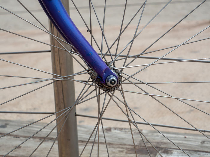 Bike Bicycle Blue Close-up Day Flooring Focus On Foreground Indoors  Land Vehicle Metal Mode Of Transportation Nature No People One Animal Pattern Selective Focus Spoke Stationary Transportation Wheel