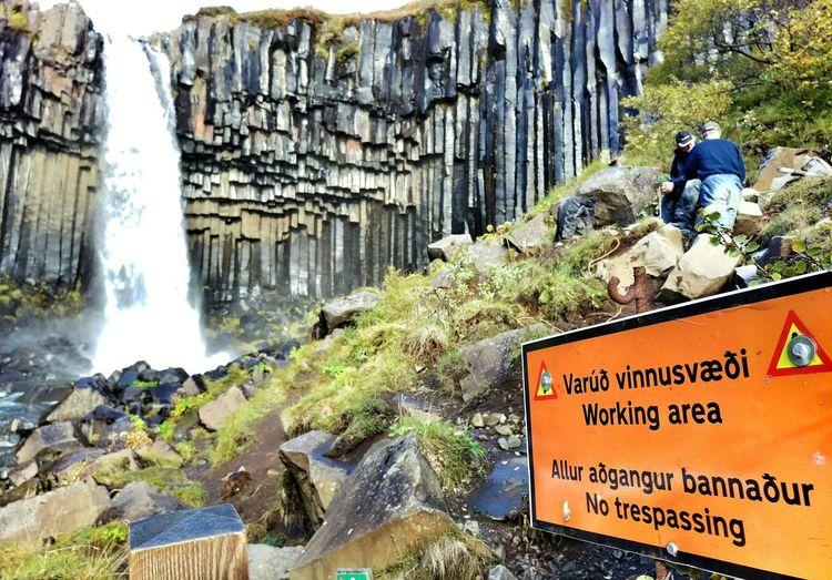 Men At Work  Skaftafell Svartifoss Waterfall