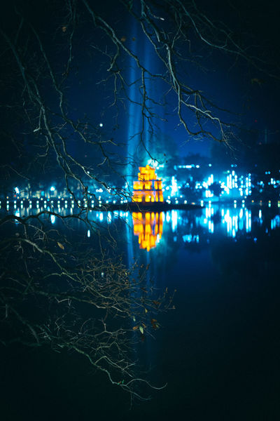 Thap Rua! Hà Nội Thap Rua Tower Tháp Rùa Viet Nam Architecture Building Exterior Built Structure City Illuminated Lighting Equipment Nature Night Nightlife No People Reflection Tree Water